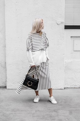 skirt midi skirt striped skirt white shirt stripes striped top shirt white sneakers sneakers low top sneakers