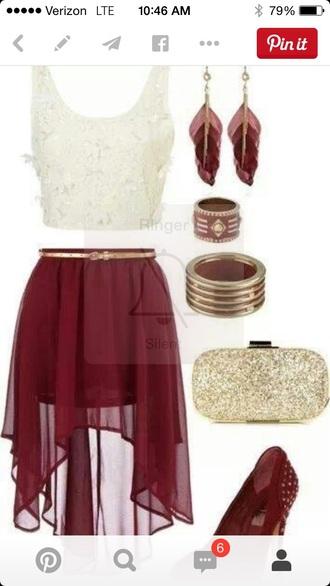 skirt red skirt high-low skirt sheer skirt shirt