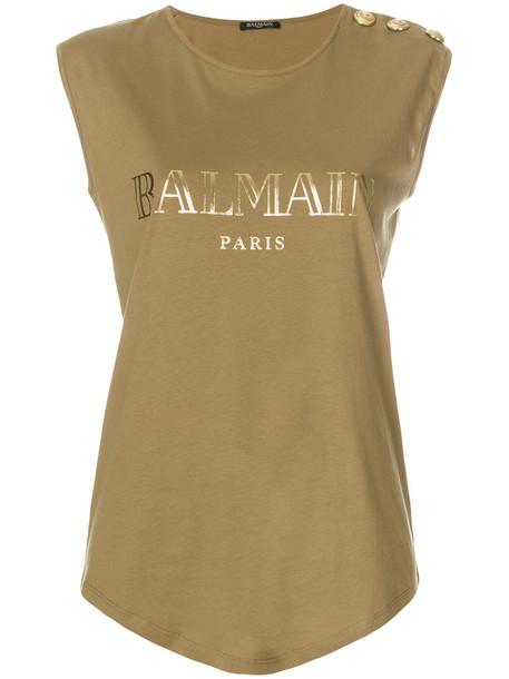 Balmain - logo print tank top - women - Cotton - 42, Brown, Cotton