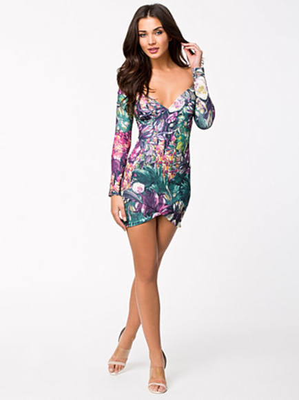 dress print dress print wrap dress sexy sexy dress off the shoulder dress long sleeved dress