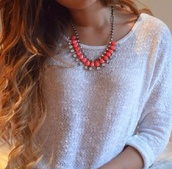 jewels,pink,jewelry,necklace,big necklace,silver,silver jewelry,coral,orange,strass,plastron,pull,white,clothes