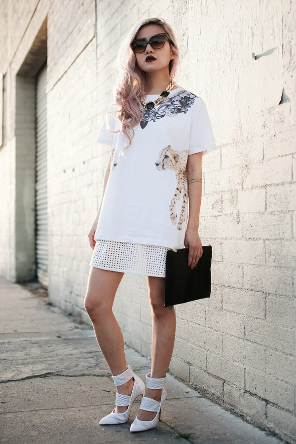 feral creature t-shirt dress sunglasses shoes