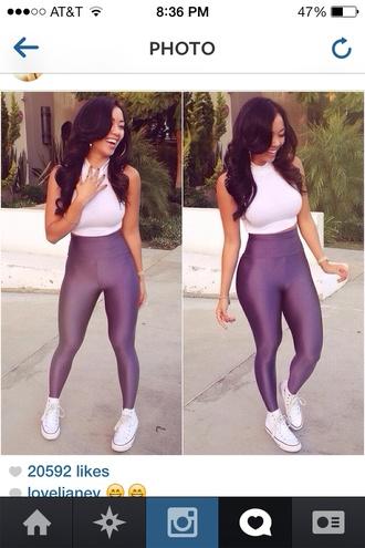 tights white t-shirt whitetee leggings black top black girls killin it blouse top
