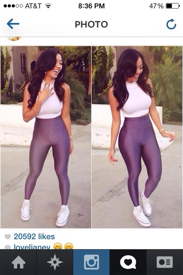 leggings jeans tights white t-shirt whitetee black top black girls killin it blouse top