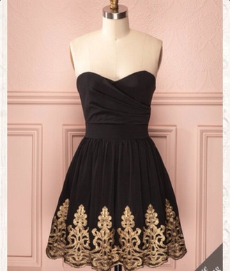 black and gold dress black gold prom dress short dress bandeau