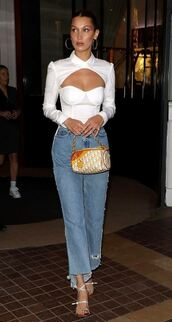 blouse,top,white,white top,white shirt,jeans,denim,sandals,sandal heels,bella hadid,model off-duty,celebrity,shoes