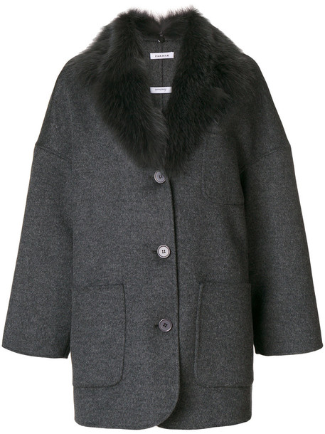 coat fur coat oversized fur fox women wool grey
