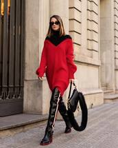 shoes,knee high boots,leather boots,dior bag,red sweater,knitted sweater,black turtleneck top