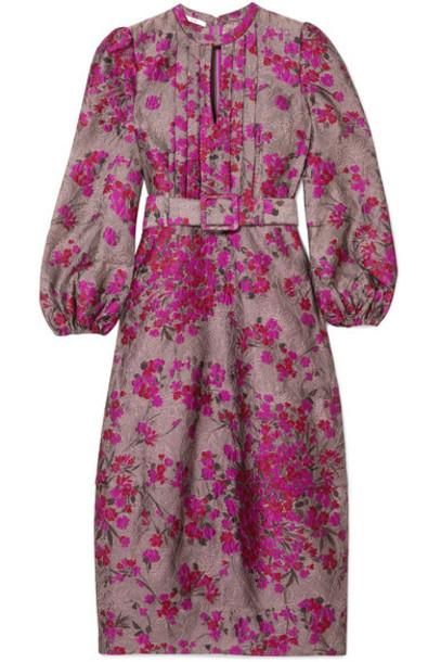 CO dress midi dress midi jacquard floral magenta