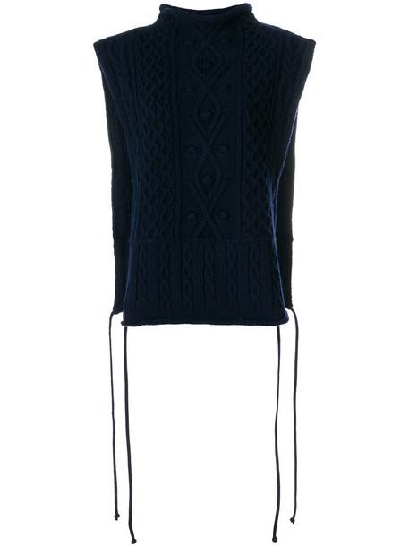 PORTS sweater sleeveless high women high neck blue wool