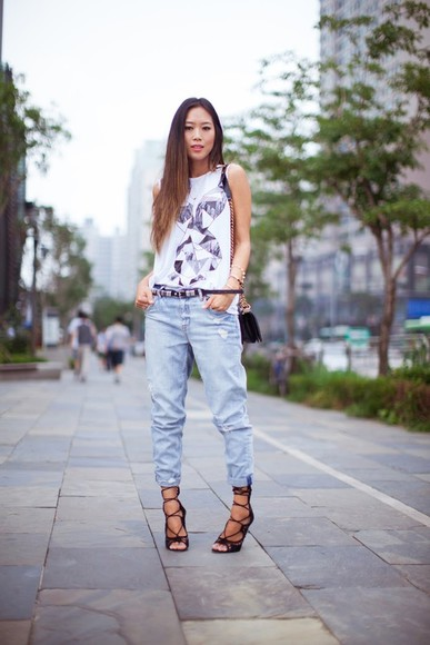 song of style shoes t-shirt bag tank top jeans