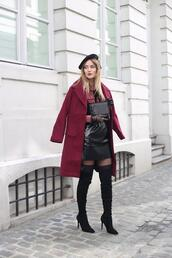 from brussels with love,blogger,coat,blouse,skirt,shoes,tights,bag,boots,over the knee boots,mini skirt