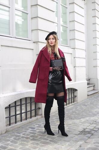 from brussels with love blogger coat blouse skirt shoes tights bag boots over the knee boots mini skirt