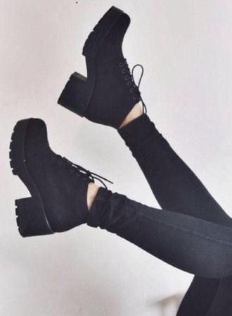 shoes punk black black shoes grunge high-heeled  shoes boots black boots shoes #black