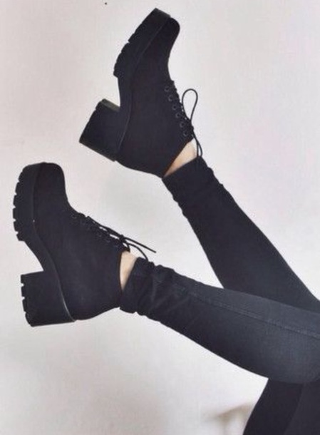 shoes punk black black shoes grunge high-heeled  shoes boots black boots shoes #black