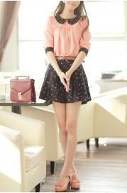 Elegant contrast star detailed peter pan collar medium sleeve blouse