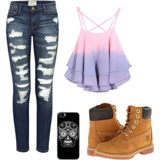 top pastel tank top strappy hippie hipster denim phone cover timberland pink purple strappy tank top pastel pink grunge casual girly tumblr polyvore cute kawaii kawaii top pretty cheap clothing summer summer outfits streetstyle streetwear jeans shoes boots