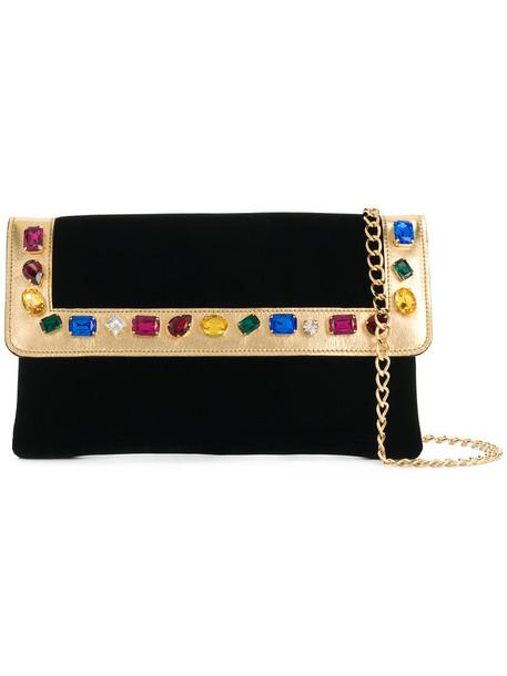 CASADEI women embellished bag clutch leather black velvet satin
