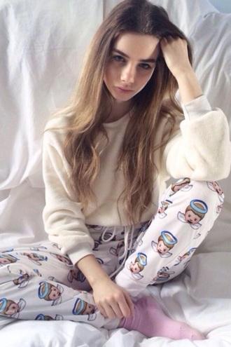 pajamas jumper emoji pyjamas pants fluff white pyjamas blouse fluffy