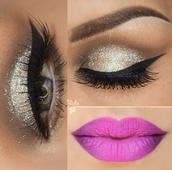 make-up,winged eyeliner,beautiful,i love it ?,lavender,purple,eyebrows,concealer,eyeliner,glittery-eyeliner-stuff,glitter,glamour,lips,lipstick,cute,silver,silver glitter,eye makeup,ombre lips,crease,eye shadow,pink,purple pink,gold,gold silver,false eyelashes,long eyelashes,pretty eyes,winged liner,mascara,eyelashes,pop of color,earphones
