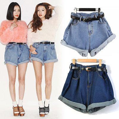 Fashion Women Girl High Waisted Oversize Crimping Boyfriend Jeans Shorts Pants | eBay