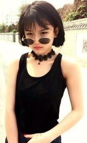 jewels,black choker,choker necklace,sunglasses,round sunglasses,black sunglasses,necklace,lace