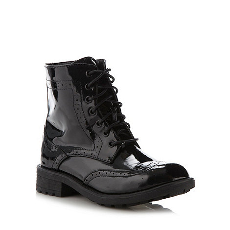 Red herring black patent brogue ankle boots