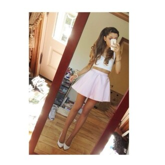 skirt blush brown hair brown shoes ariana grande cute outfit cute outfits top bottoms bustier pink white curly hair iphone pointed toe shirt
