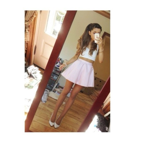 skirt blush curly hair brunette brown shoes ariana grande cute outfit cute outfits top bottoms bustier pink white curly hair iphone pointed shoes shirt