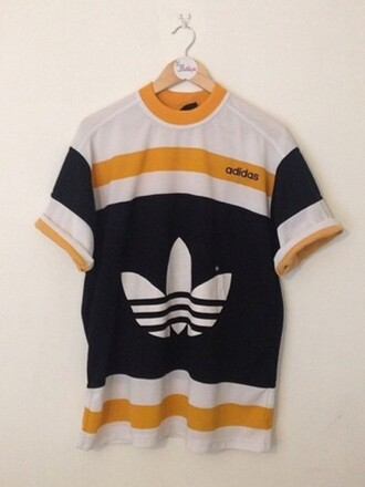 t-shirt adidas retro vintage yellow white black awesome style sportswear menswear women