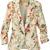 Apricot Long Ruched Sleeve Florals Print Blazer - Sheinside.com
