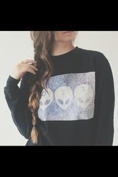 sweater,alien,tumblr,clothes,hipster,alians,nail polish,black,hoodie,strange,grunge,noir,pull,black alien pul,black sweater,aliens grunge,alien sweater,alien shirt