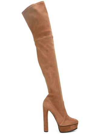 women over the knee boots leather nude suede shoes