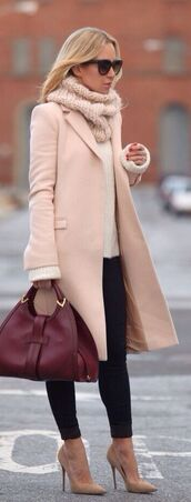 coat,wool overcoat,pointed toe pumps,bag,sweater,knitted scarf,all nude everything,white sweater,black pants,black sunglasses,sunglasses,pumps,nude heels,nude pumps,pointy heels,pointy pump,stilettos,fall outfits,fall coat,fall scarves,fall accessories,high heels