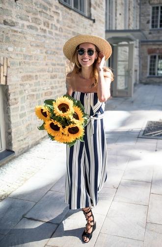 jumpsuit hat tumblr stripes striped jumpsuit sandals black sandals sun hat straw hat sunglasses shoes