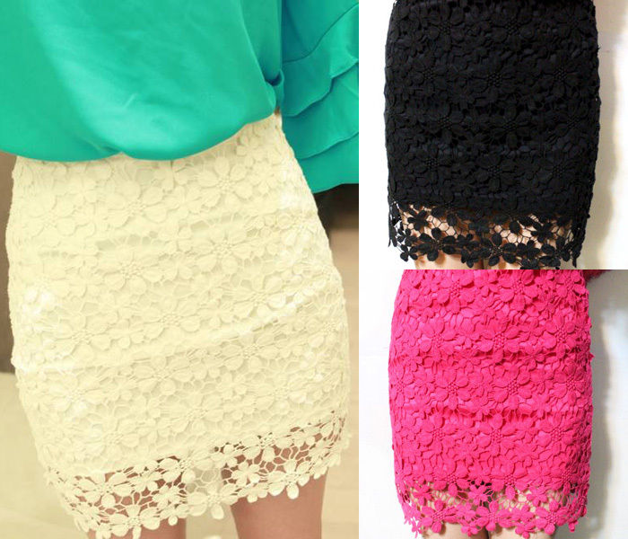 Hot Women Crochet Embroidery Floral Lace Double Layer Bodycon Mini Skirt | eBay