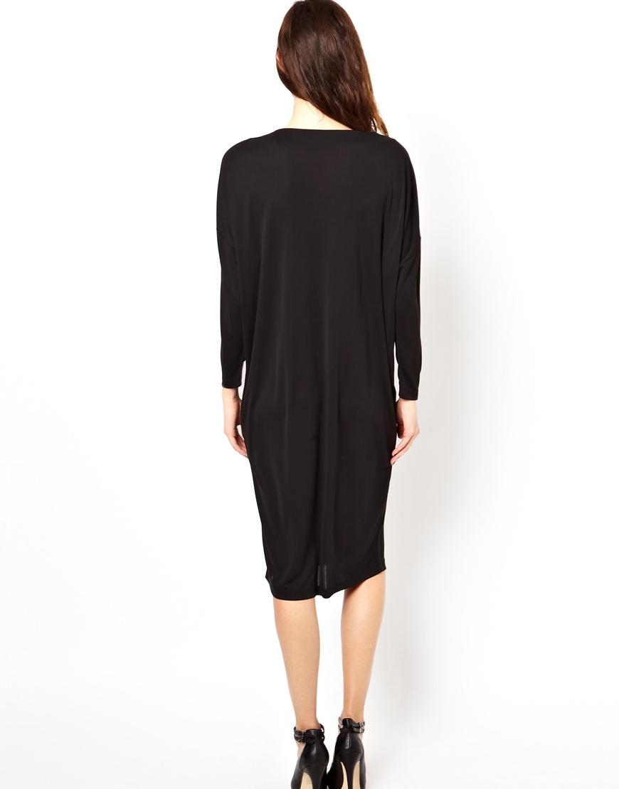 ASOS Midi Dress In Crepe With V Neck at asos.com