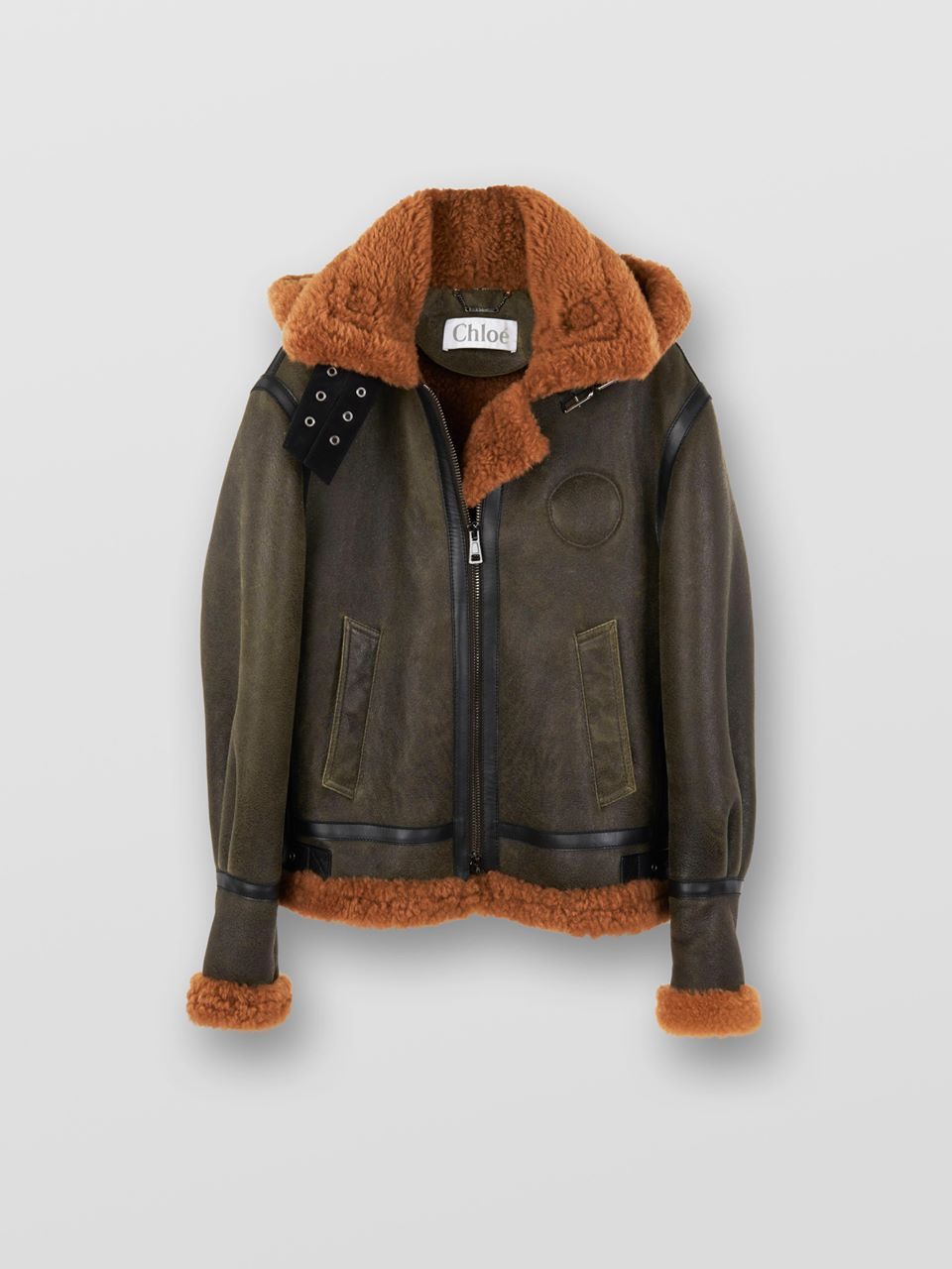 CHLOÉ Aviator jacket Women's BROWN - GREEN 1 100% Lambskin