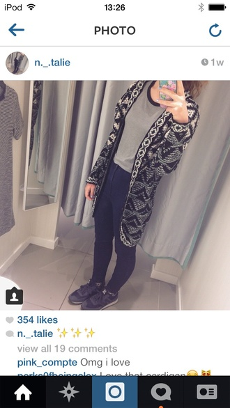 cardigan aztec black&white long