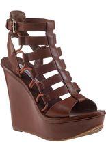Diane Von Furstenberg Lexington Wedge Sandal Sandalwood Leather - Jildor Shoes, Since 1949