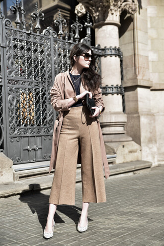 views by laura blogger shoes pants top bag coat culottes nude minimalist streetstyle lookbook
