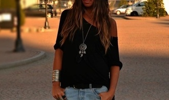 top blouse off the shoulder boho jewels