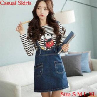 mickey mouse korean fashion korean style japanese fashion kawaii cute stripes denim cartoon