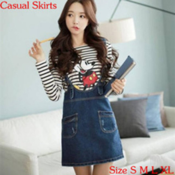 cartoon stripes korean fashion cute mickey mouse korean style japanese fashion kawaii denim