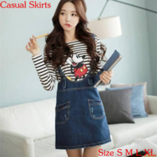 Mickey Mouse Korean Fashion Korean Style Japanese Fashion Kawaii Cute Stripes Denim