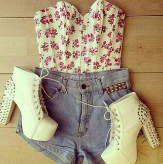 shirt floral heels spikes shoes