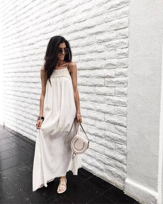 dress tumblr maxi dress long dress white long dress white dress bag white bag sunglasses sandals flat sandals