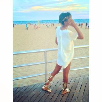blouse long shirt topshop gold sandals gladiators white beige