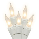 Set of 100 Clear and Frost Mini Christmas Lights - White Wire 7577380 | ChristmasCentral