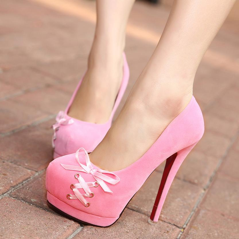 2014 Shoelace Wedding Bridal Shoes Woman Bow Round Toe Platform Ladies Sexy Neon Pink Red Sole Red Bottom High Heels Women Pumps-in Pumps from Shoes on Aliexpress.com